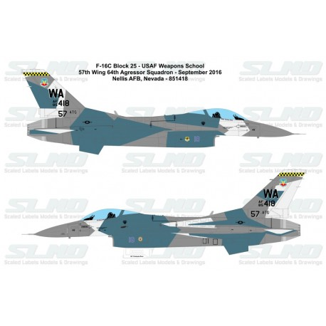 F-16C Block25F - 57th Adversary Tactics Group 64th Aggressor Squadron - 851418