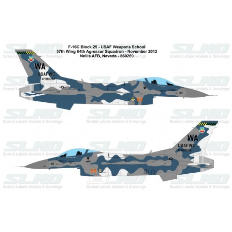 F-16C Block32D - USAF Weapon School - 57th Wing 64th Aggressor Squadron - Nellis AFB - 860269